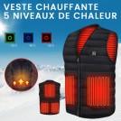 Gilet Chauffant Lavable Avec 5 Zones de Chauffage - Unisexe